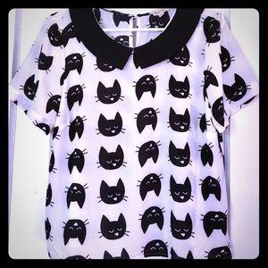 Peter pan collar cat print blouse
